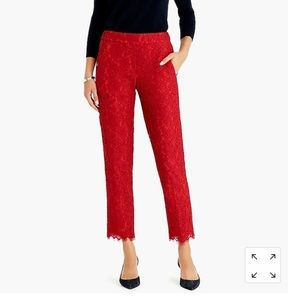 J Crew Red Easy pant in lace sz 8